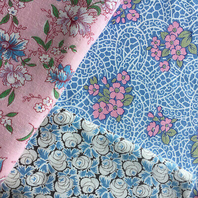 """Vintage Partial Feed Sack Lot: 3  Lovely Florals on Blue & Pink each app 21""""x18"""""""