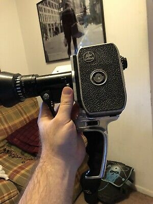 Bolex Paillard P1 Zoom Reflex 8mm Camera with Pistol Grip Handle.