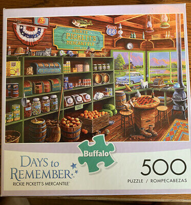 """Buffalo Games 500 Piece Puzzle ~ RICKIE PICKETT""""S MERCANTILE ~ Days to Remember"""