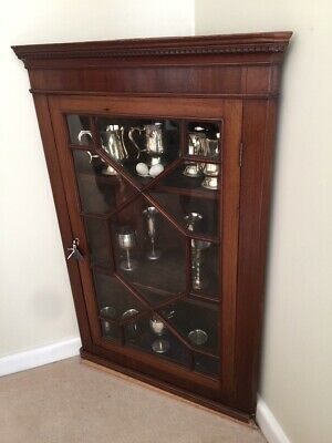 Early Victorian Corner Cabinet Astral Glazed with Key