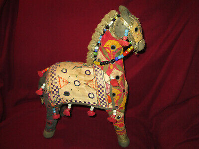 Large Vintage India Cotton Patchwork Embroidered Horse With Mirrors Tassels Bead