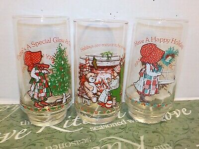 Vintage Lot Of 3-Diff. Holly Hobbie Glasses 1982 Christmas Coca Cola