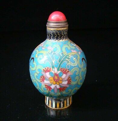 Collectibles 100% Handmade Painting Brass Cloisonne Enamel Snuff Bottles 005