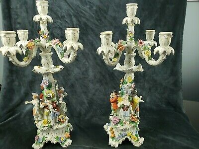Pair of Dresden Porcelain Candelabras Carl Thieme of Potschappel German Candles
