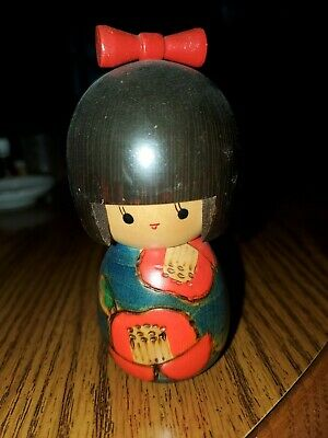 Vintage Hand Crafted Hand Painted Japanese Kokeshi Doll