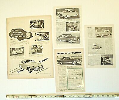 lot of 4 PRINT ADS & articles KAISER TRAVELER CARS history AUTOMOBILE