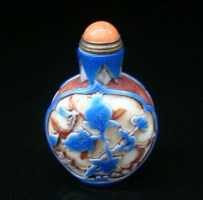 100% Handmade Carved Painting Snuff Bottles old peking Colored glaze 037