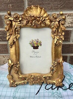 Gold Gilt  Plaster French Provincial Rococo Style 5x7 Ornate Photo Picture Frame