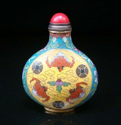 Collectibles 100% Handmade Painting Brass Cloisonne Enamel Snuff Bottles 058