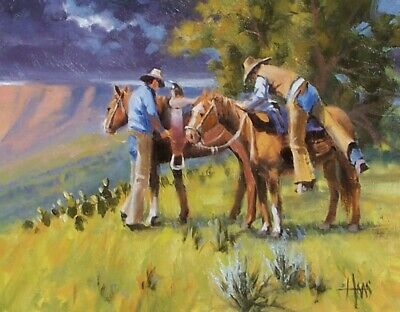 TOM HAAS (b.1952) 'Rim Country Riders' oil 11x14 Arizona ranching cowboys horses