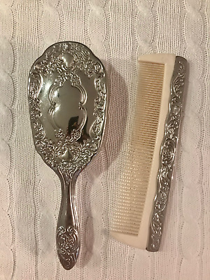 Antique / Vintage Bakelite Silverplate Silver Plated Brush and Comb Vanity Set