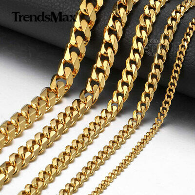 3/5/7/9/11mm Gold Plated Curb Cuban Link Necklace Bracelet Stainless Steel Chain