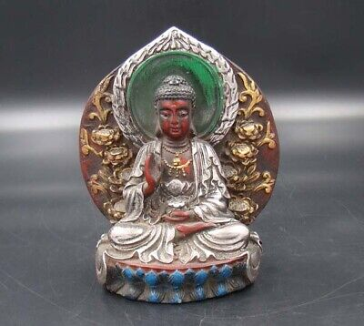 Collectible Handmade Carved  & Famille Painting wood Statue Buddha
