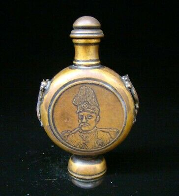 Collectible Handmade Carved  Statue Copper Brass Snuff Bottles people Figures