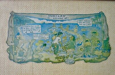 Ted Mundorff Hukilau in Hawaii Nei Die Cut Cardboard Postcard Cartoon Koa Frame