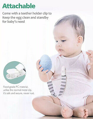 Dino Eggie Baby Teether Egg-Shaped Teething Toy with Silicone Beaded Pacifier -