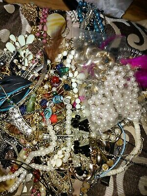 Unsearched Jewelry Vintage Modern Big Lot Craft Box Full Pounds Pieces