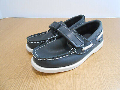 BNWT Marks & Spencer navy leather strap secure deck shoes 11 UK NEW boys