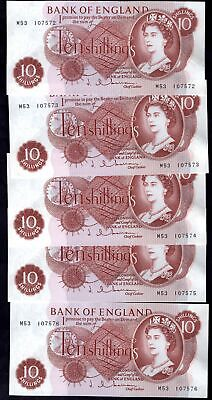 Bank of England, Hollom, 10 shillings, (1963), consecutive replacements, (5) ...