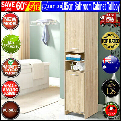 Slim Cabinet Tall Cupboard Kitchen Pantry Laundry Bathroom Storage Unit Shelves