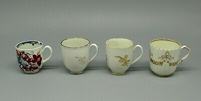 4 x 18thC English Porcelain Coffee Cups Including First Period Worcester