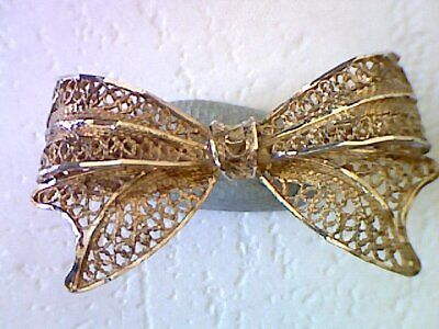 Beautiful Antique / Vintage Solid Silver Bow Brooch Filigree