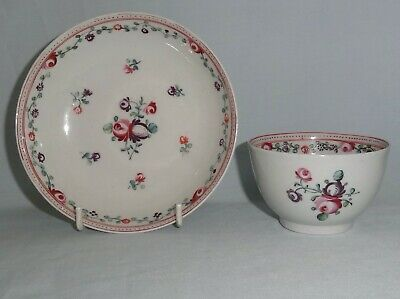 English porcelain 'floral sprig' tea bowl & saucer