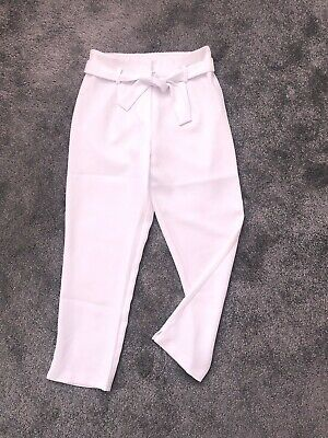 Fabulous RIVER ISLAND Girls White Tapered Tie Waist Trousers - Age 10 Sold Out