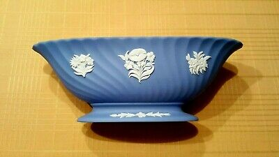 Wedgwood Blue Jasperware Footed Bowl with White Floral Motif