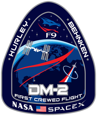 DM-2 Spacex Dragon First Crewed Test Flight Logo Vinyl Sticker - 2.5 x 3 inches