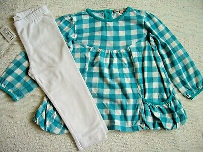 M&S A Line Checked Top 2-3 Yrs & Bnwt White Crop Stretch Leggings 4 Yrs C/Place