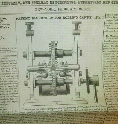 1852 Rochester Ny Candy Rolling Machinery Report Bartholomew O'brien