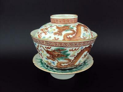 Rare IMPRESSIVE Chinese Antique Oriental Porcelain Famille Rose Tea Bowls Set