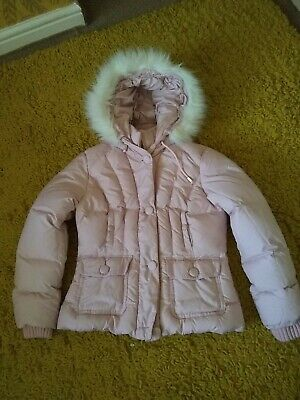 Ladies girls pink hooded zip up padded jacket size 8/10 by per Una