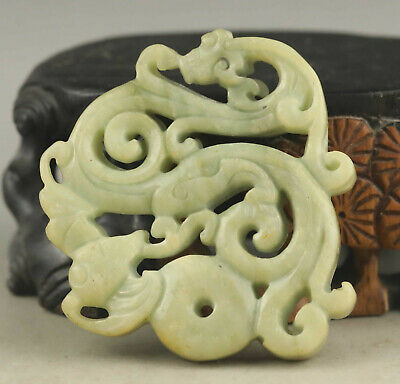 Old Chinese natural jade hand-carved statue of dragon pendant