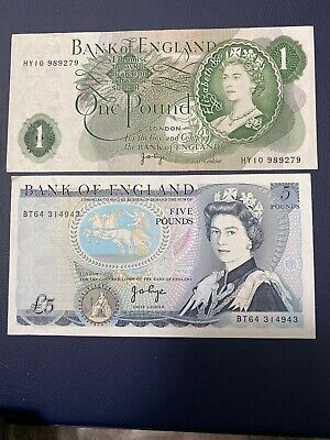 BANK OF ENGLAND ONE POUND £1 Note £5 NOTE CRISP 100% GENUINE Good Condition
