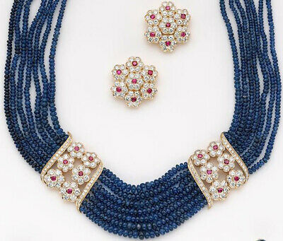 5.56ct NATURAL DIAMOND SAPPHIRE RUBY 14k WHITE GOLD WEDDING NECKLACE SET 17 INCH