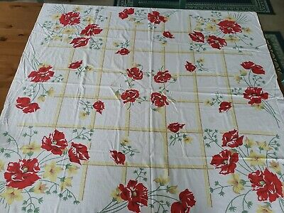Vintage Cotton Print Tablecloth Yellow Red Flowers