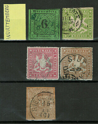 Old Germany Stamps - Wurttemberg - 5 Stamps