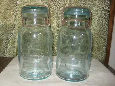 539Th-1 Two Quart Aqua Lightning Fruit Jars With Glass Lids And Wire Bails
