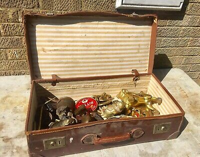 VINTAGE TRUNK FULL OF ANTIQUE & VINTAGE BRASS ITEMS Collection Lincoln
