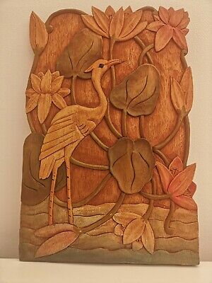 Vintage Hand Carved Wooden Panel Crane Stork Bird Floral Chateau Panel