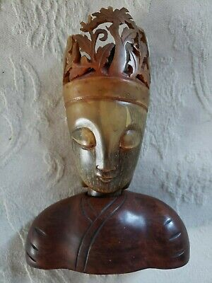 Antique Chinese Carved Bovine Bone & Wood Buddhist Luminary Statue