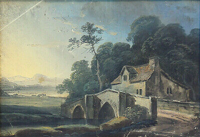Early 19th Century Georgian Landscape Painting Old Bridge & Cottage Circa 1800