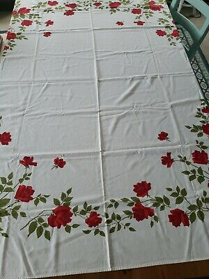 "Vintage Wilendure Red Roses Tablecloth  66"" X 52"""