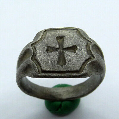 Medieval Ancient Artifact Silver Knights Templar Ring With Cross
