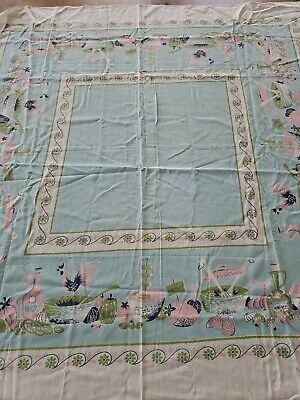 Vintage Midcentury Cotton Printed Tablecloth Aqua Pink Green Rooster Kitchen