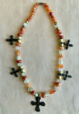 Byzantine Bead Necklace with 5 bronze crosses.A marvelous wearable piece of art!