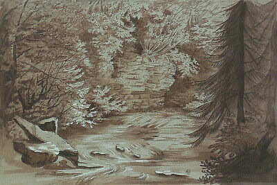 Antique Early 19th Century Sepia on Grey Painting Trees Stream Twigel Dean c1830