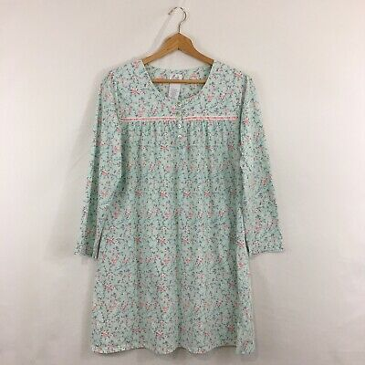 Aria Green w/Pink Floral & Ribbon Lace WOMEN'S Cotton Nightgown Sz M Long Sleeve